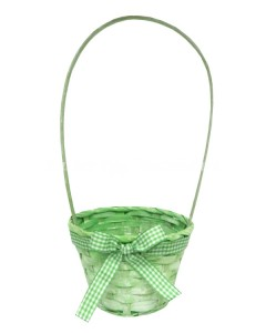 green basket with bow